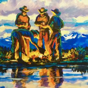 Nightcap - cowboy campfire painting by Pirnie