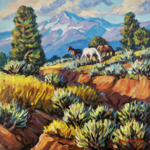 Painting of horses grazing by Larry Pirnie