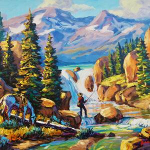 Fisherman painting by Larry Pirnie
